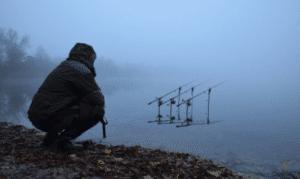 Winter Carp Fishing Tips - Carp fisherman by foggy bank