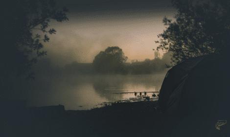 Night Fishing for Carp - Carp set up beside lake at night