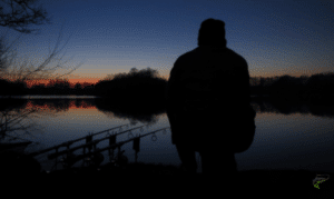 Night Fishing for Carp - Sunset on a winter fishing trip with angler and fishing rods