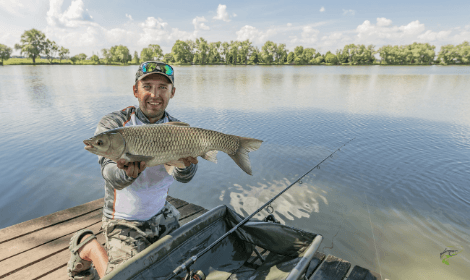 What is a Grass Carp - Man holding grass carp with lake in background