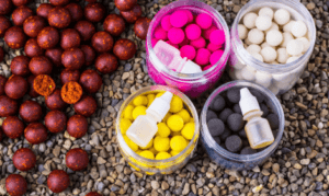 Carp fishing with boilies - different coloured boilies