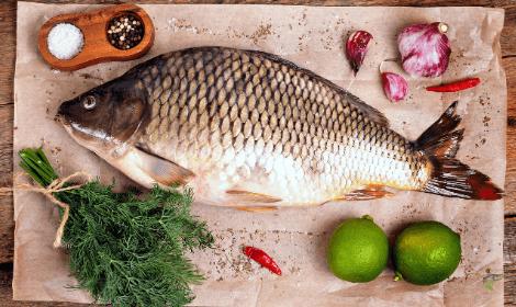 Can you eat carp - Carp on Chopping Board