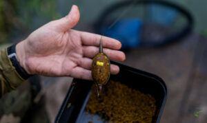 grass-carp-vs-common-carp-man-holding-method-feeder-with-mix-underneath